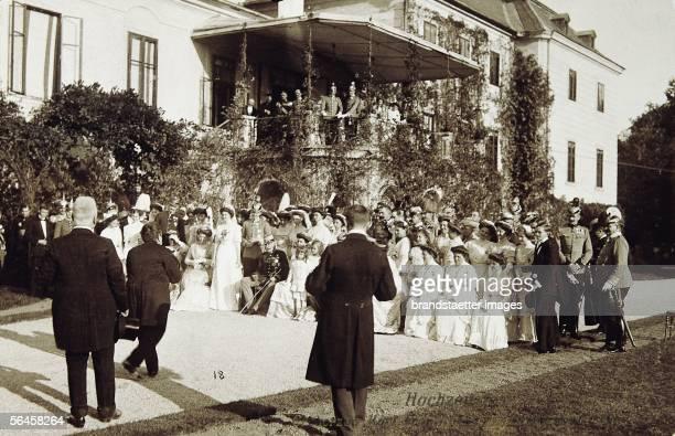Emperor Franz Joseph I. As guest at the wedding of Archduke Carl Franz Joseph, later Carl I. With princess Zita of Bourbon-Parma in Schwarzau castle...
