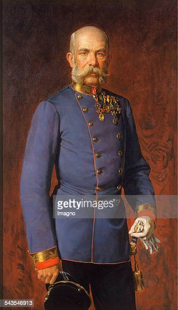 Emperor Franz Joseph I in a blue tunic Portrait Elbow About 1885 Painting