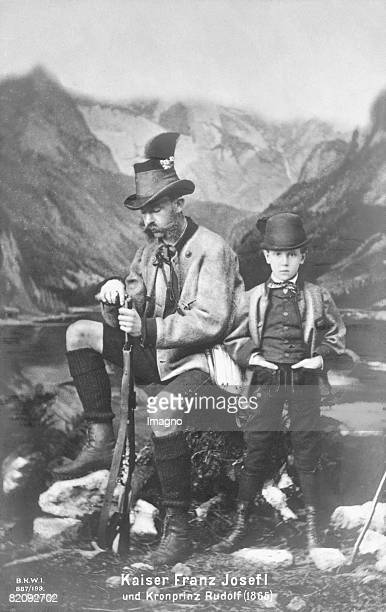 Emperor Franz Joseph I in hunting costume with leather short next to Crown Prince Rudolf with long leather trousers Austria Photograph 1865 [Kaiser...