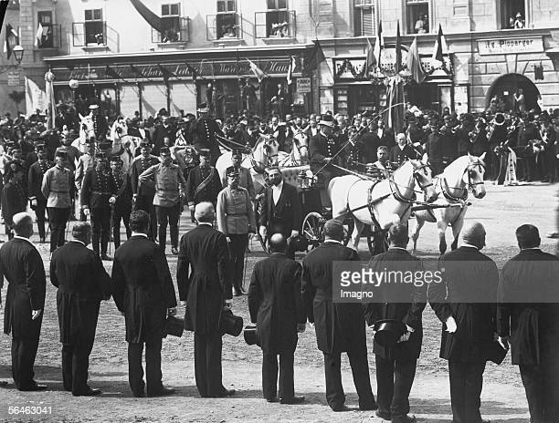 Emperor Franz Joseph I of Austria at parade. Opening of the town hall at Korneuburg. Photography. 1895. [Franz Joseph I, Kaiser von oesterreich, bei...