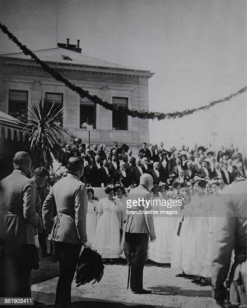 Emperor Franz Joseph I of Austria at the 100th anniversary celebration of the Battle of Aspern - accompanied by Archduke Franz Ferdinand and Archduke...