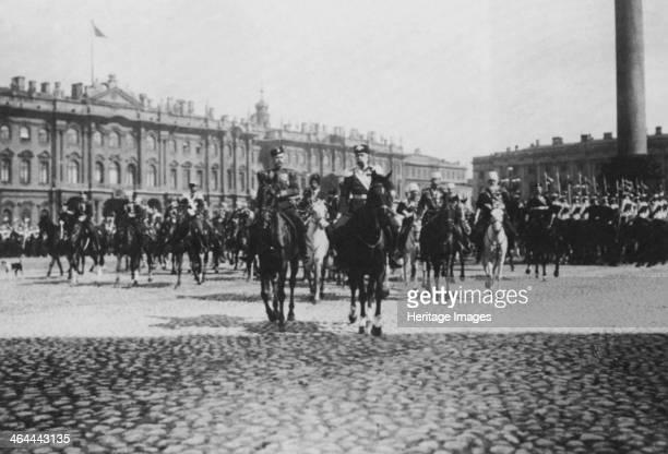 Emperor Franz Joseph I of Austria on a state visit to St Petersburg, Russia, 1897. Tsar Nicholas II is riding alongside Franz Joseph .