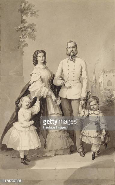 Emperor Franz Joseph I with Empress Elisabeth and their children Crown Prince Rudolf and Archduchess Gisela, circa 1860. Private Collection. Artist...