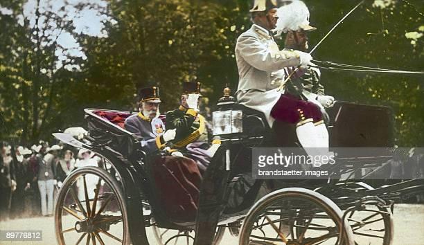 Emperor Franz Joseph on his daily way from the Hofburg to Schoenbrunn. Vienna. Hand-colored lantern slide. Around 1905