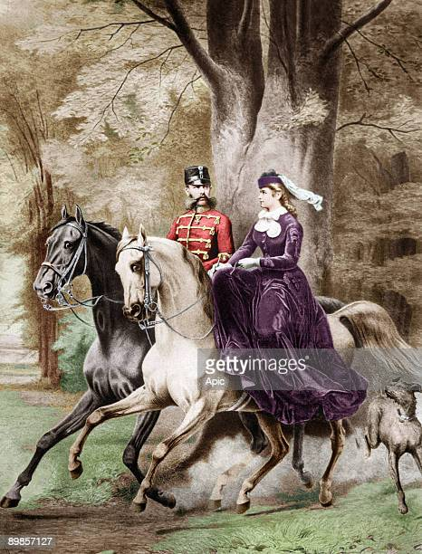 Emperor Franz Joseph the first and the the Empress Elisabeth of Austria from Wittelsbach riding horses, engraving colorized document