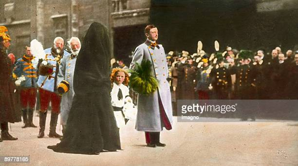 Emperor Franz Joseph´s funeral Emperor Karl I Empress Zita crown prince Otto at the funeral procession in front of the St Stephen's Cathedral...