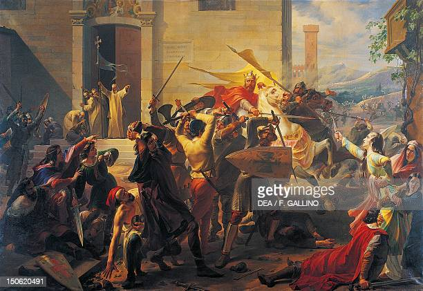 Emperor Frederick Barbarossa at the siege of Alexandria 11741175 by Carlo Arienti oil on canvas 310x510 cm Age of communes and lordships Italy 12th...