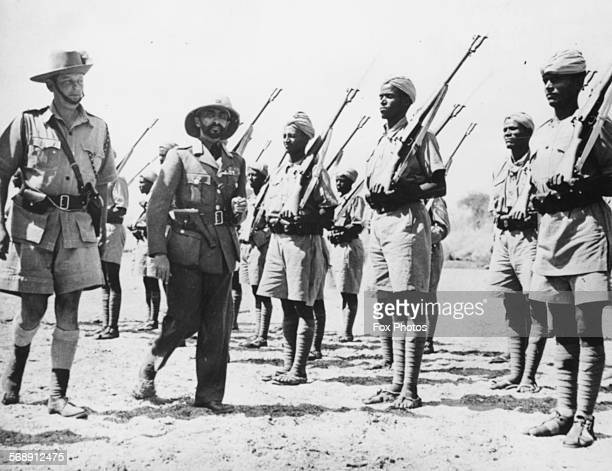 Emperor Haile Selassie inspecting soldiers of the Patriot Colum during World War Two Abyssinia March 16th 1941