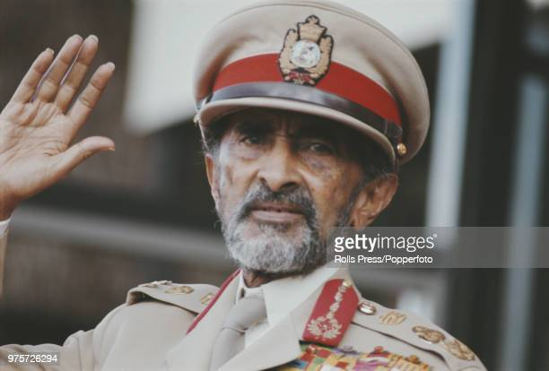 Emperor Haile Selassie of Ethiopia pictured wearing military uniform at a parade in Ethiopia in 1972