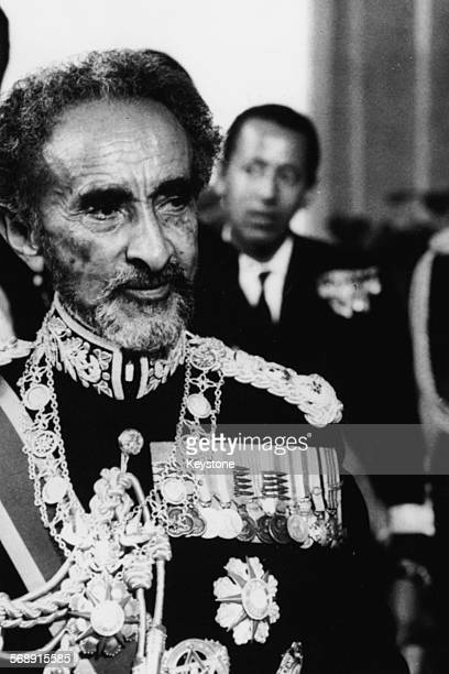 Emperor Haile Selassie of Ethiopia wearing military uniform during a visit to the Vatican Rome November 9th 1970