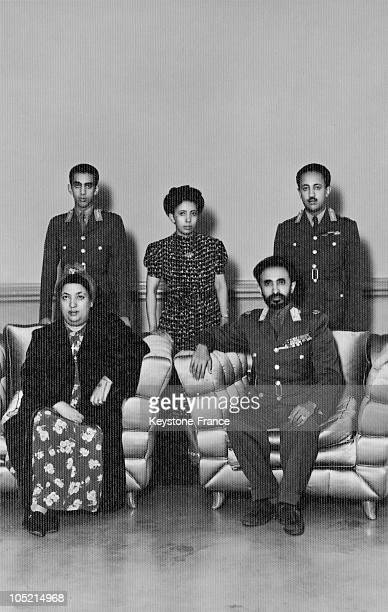 Emperor Haile Selassie Queen Wayzaro Menen Asfaw And Their Sons Prince Makonnen Duke Of Harar The Eldest Son And Crown Prince AsfaWossen And One Of...