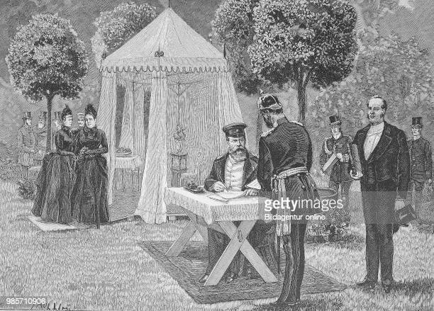 Emperor Heinrich before his party tent he signed documents Original drawing by Paul Heydel Germany digital improved reproduction of a woodcut...