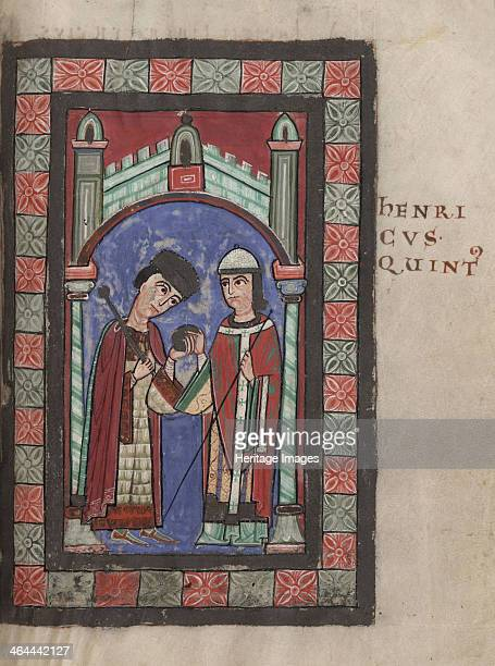 Emperor Henry V and Matilda of England at the Wedding Feast in Mainz on 7 January 1114, 1114. Found in the collection of the The Parker Library.