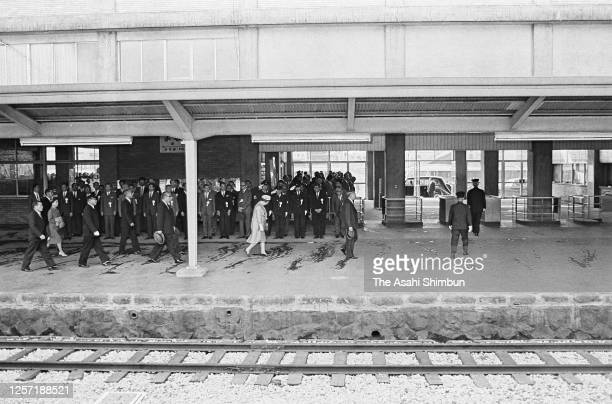 Emperor Hirohito and Empress Nagako are seen on arrival at Yonago Station on May 8, 1965 in Yonago, Tottori, Japan.