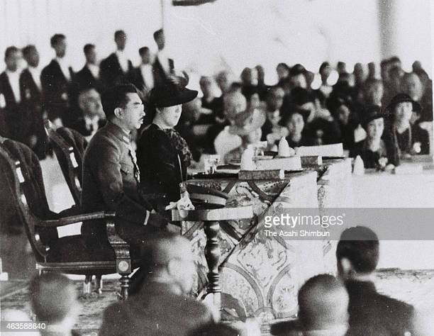 Emperor Hirohito and Empress Nagako attend the ceremony to mark the 2,600 anniversary of the Japan's first emperor Jinmu enthronement on November 11,...
