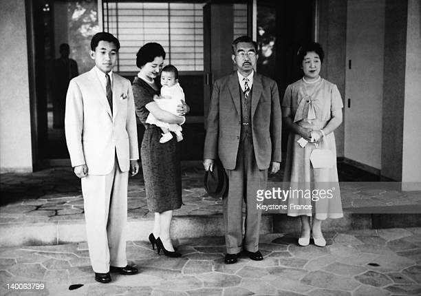 Emperor Hirohito and Empress Nagako during their visit to see their grandson Prince Naruhito and his parents, the Crown Prince Akihito and his wife...