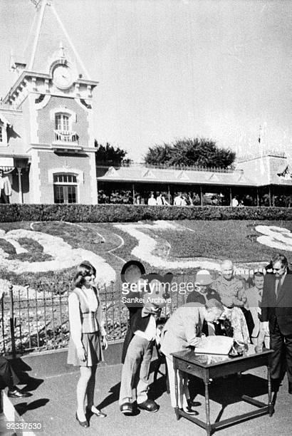 Emperor Hirohito and Empress Nagako visit Disneyland during their visit to United States on October 9, 1975 in Anaheim, Carifornia.
