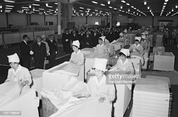 Emperor Hirohito and Empress Nagako visit the Nippon Pulp Industry Yonago Factory on May 9, 1965 in Yonago, Tottori, Japan.