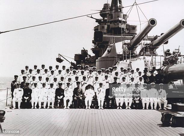 Emperor Hirohito and Imperial Japanese Navy officials pose on the deck of warship Nagato on July 21 1939 in Japan