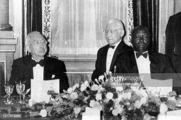 Emperor Hirohito and Kenyan President Daniel arap Moi attend the return reception at the Akasaka State Guest House on April 7 1982 in Tokyo Japan