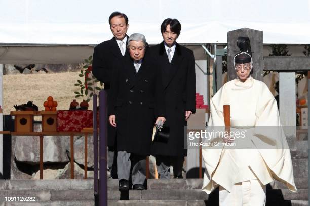 Emperor Hirohito and Prince Akishino visit the mausoleum of Emperor Showa at the Musashino Imperial Graveyard on January 07, 2019 in Hachioji, Tokyo,...