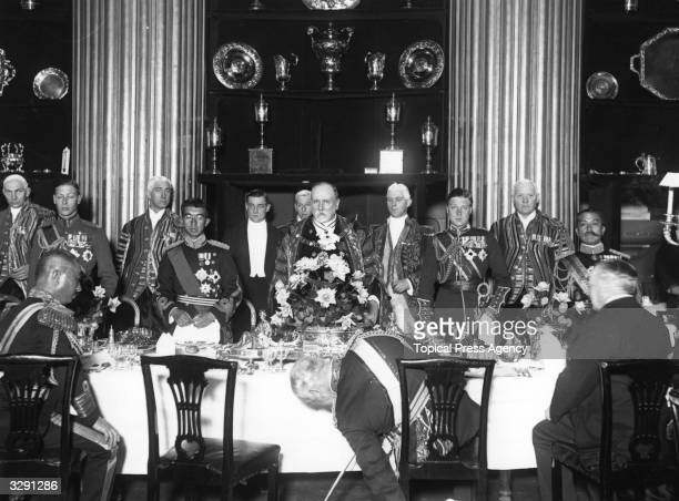 Emperor Hirohito as Crown Prince of Japan lunching at the Mansion House London with Edward VIII then Prince of Wales