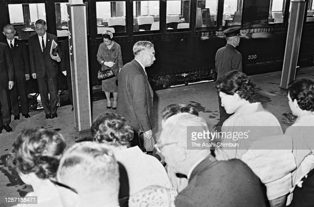 Emperor Hirohito is seen on arrival at Yonago Station on May 8, 1965 in Yonago, Tottori, Japan.