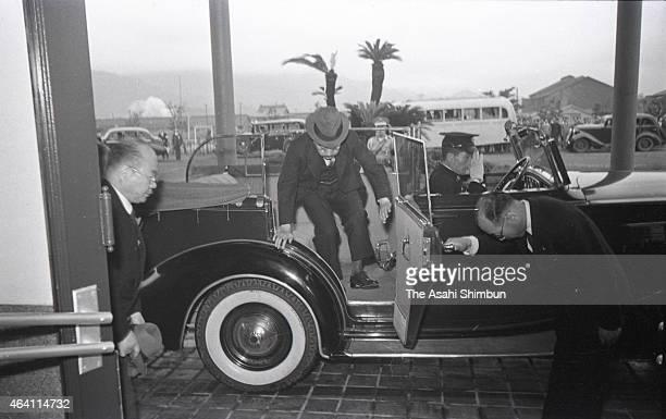 Emperor Hirohito is seen upon arrival at the Mitsubishi Kasei Makiyama factory during his visit to Kyushu on May 19 1949 in Tobata Fukuoka Japan...
