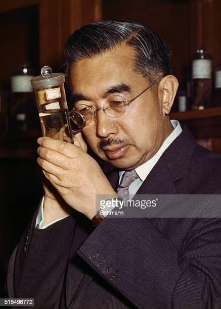Emperor Hirohito of Japan also a marine biologist seen at his studies