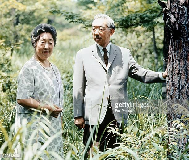 Emperor Hirohito of Japan and Empress Consort Nagako at the Imperial Villa in Tokyo, Japan, 1971.