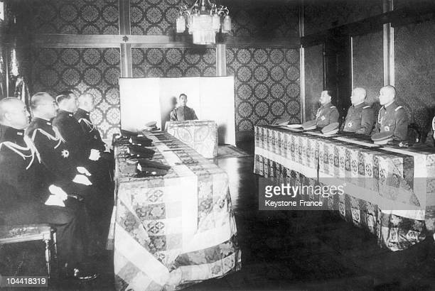 Emperor HIROHITO of Japan holding a war council with the heads of the Japanese Navy and Army on January 27 a few days before a conference that would...