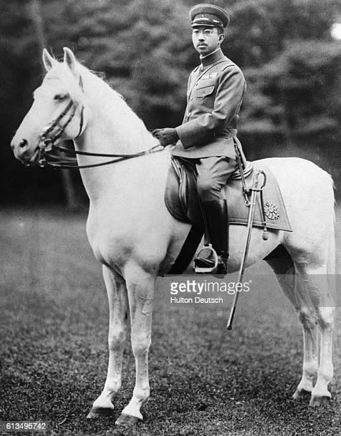 Emperor Hirohito of Japan on horseback, circa 1940.