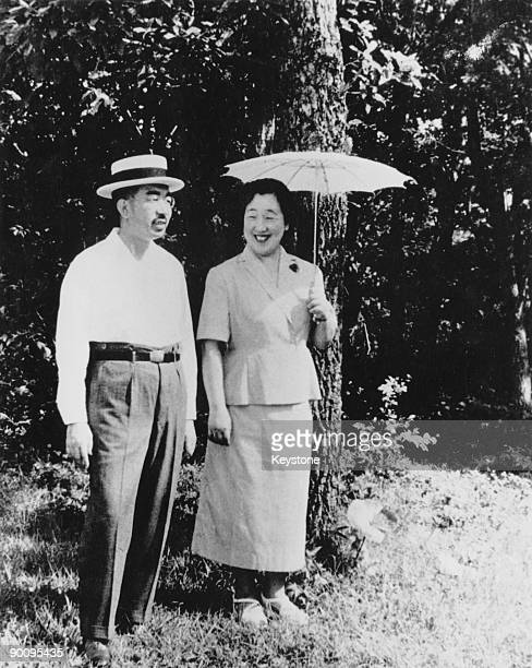 Emperor Hirohito of Japan with Empress Kojun in the grounds of Nasu Imperial Villa in Tochigi Prefecture, Japan, 25th August 1953.