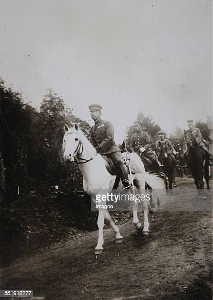 Emperor Hirohito on horseback during maneuvers of the Japanese army in Kumamoto in southern Japan. 2th December 1931. Photograph
