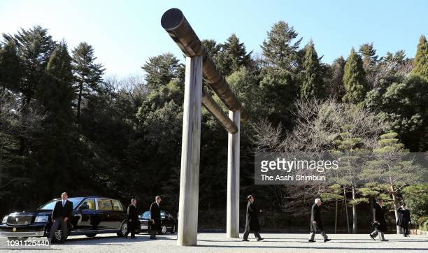 Emperor Hirohito visits the mausoleum of Emperor Showa at the Musashino Imperial Graveyard on January 07, 2019 in Hachioji, Tokyo, Japan.