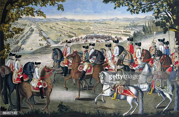 Emperor Josef II. And his generals. The Emperor, accompanied by archduke Franz, at the maneuver field in Muenchendorf near Laxenburg. In the...