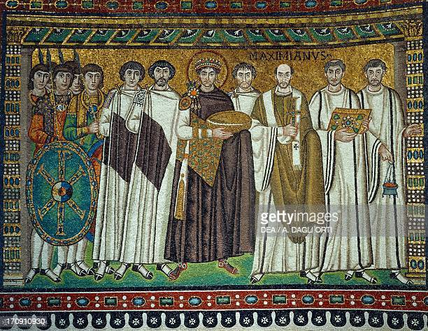 Emperor Justinian and his retinue apse mosaic left side 6th century Basilica of San Vitale founded 526 Ravenna EmiliaRomagna Italy