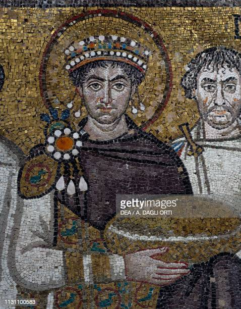 Emperor Justinian Byzantine mosaic in the presbytery of the Basilica of San Vitale Ravenna EmiliaRomagna Italy 6th century detail