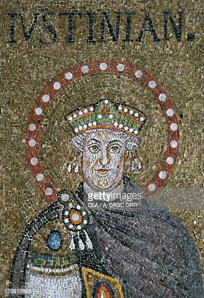 Emperor Justinian, detail of the 5th century mosaics, Basilica of Sant'Apollinare Nuovo , founded 493-496, Ravenna, Emilia-Romagna, Italy.