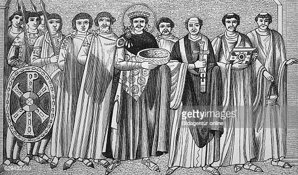 Emperor justinian i and bishop maximian with court, woodcut from 1880