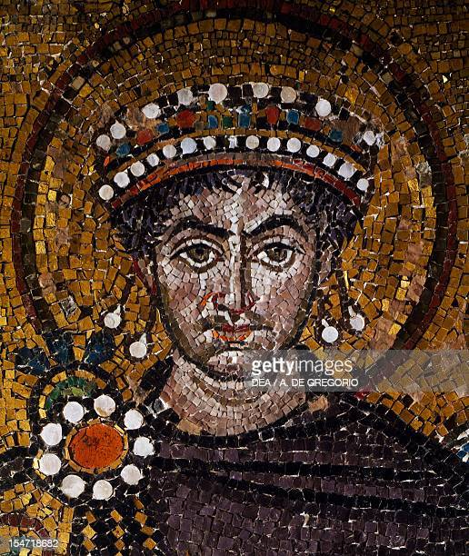 Emperor Justinian's vault detail from Emperor Justinian with his entourage mosaic northern wall of the apse Basilica of San Vitale Ravenna...