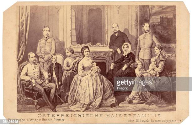 Emperor Kaiser Franz Jospeh with his wife Elisabeth their three children his parents and his brothers Photography Around 1870 [oesterreichische...