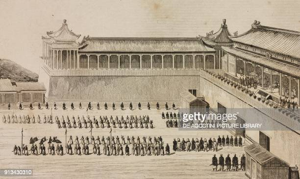 Emperor Kien-Long receiving the homage of the Euletes in Ge-ho, China, engraving from Chine, ou, Description historique, geographique et litteraire...