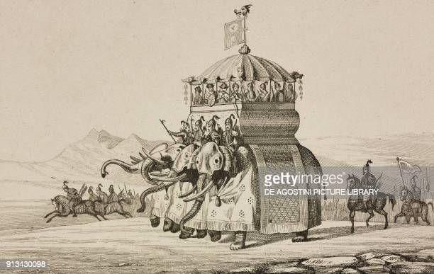 Emperor Kublai Khan with Fourelephant war castle China engraving by Lesueur from Chine ou Description historique geographique et litteraire de ce...