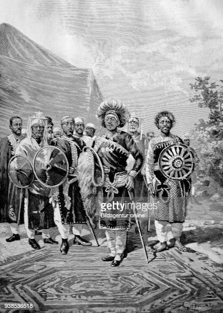 Emperor Menelik II baptized as Sahle Maryam 1844 1913 was Negus of Shewa then Emperor of Ethiopia here with his army illustration woodcut from 1880