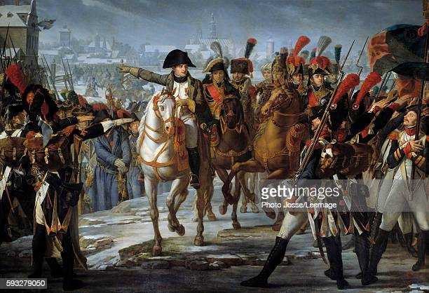 Emperor Napoleon I haranguing his 2nd Corps troops on the Lech bridge before the attack of Augsburg on 12 October 1805 Painting by Claude Gautherot...