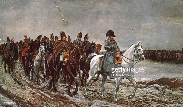 Emperor Napoleon I of France at the head of a weary staff party during the defence of France. Original Artwork: Engraving from a painting by...