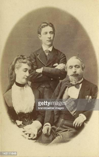 Emperor Napoleon III of France in his Exil in Chislehurst near London with empress Eugénie and the Son Napoléon Eugène Louis Bonaparte Photograph...