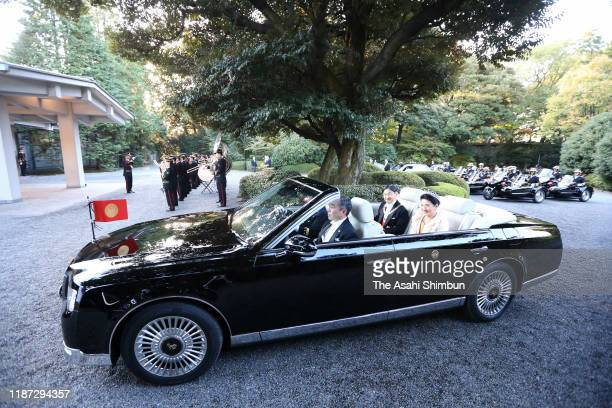 Emperor Naruhito and Empress Masako arrive at the Akasaka Palace after the imperial parade for enthronement of Emperor Naruhito on November 10, 2019...