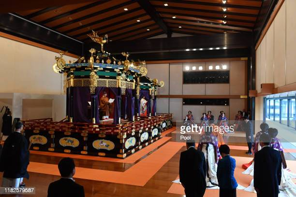 Emperor Naruhito and Empress Masako attend the enthronement ceremony where emperor officially proclaims his ascension to the Chrysanthemum Throne at...